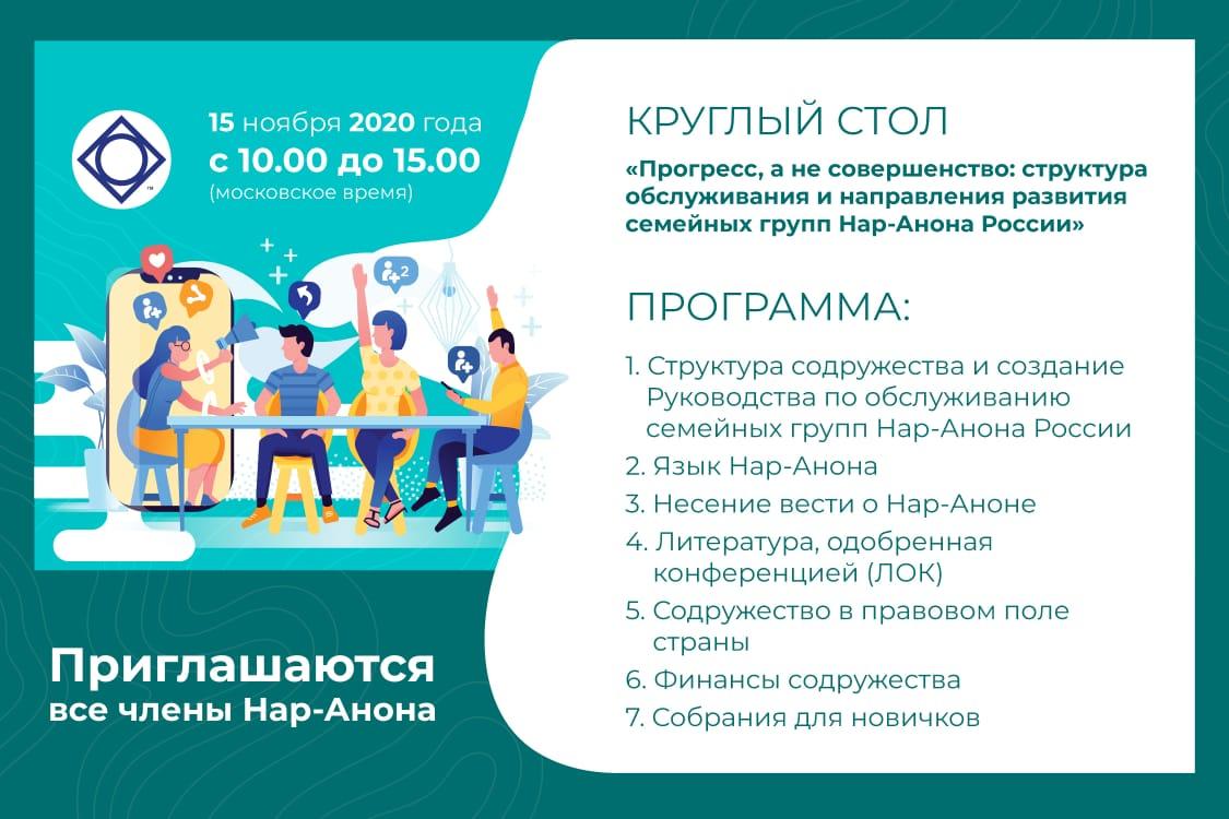 Круглый стол «Прогресс, а не совершенство: структура обслуживания и направления развития семейных групп Нар-Анона России»
