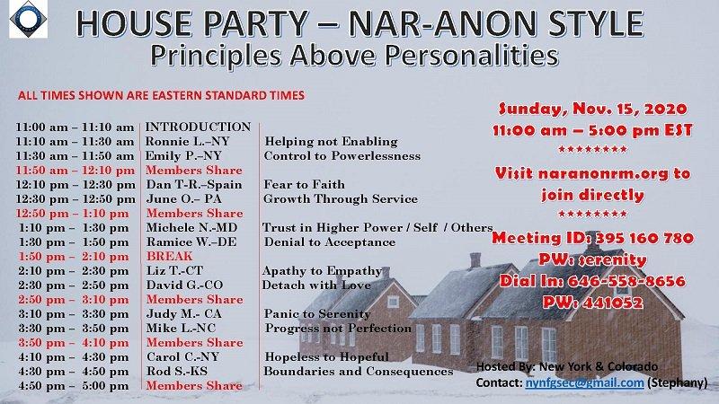 Домашняя вечеринка в стиле Нар-Анона «Принципы выше личностей»